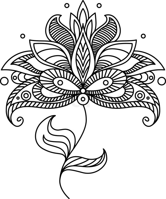 666x800 Paisley Line Drawing Ornate Floral Design Element With A Large