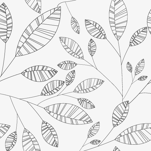 500x500 Black And White Line Drawing Vector Leaves, Black And White, Line