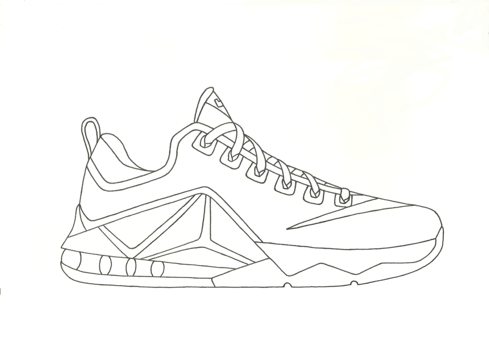 Lebron 12 drawing at free for personal for Lebron coloring pages