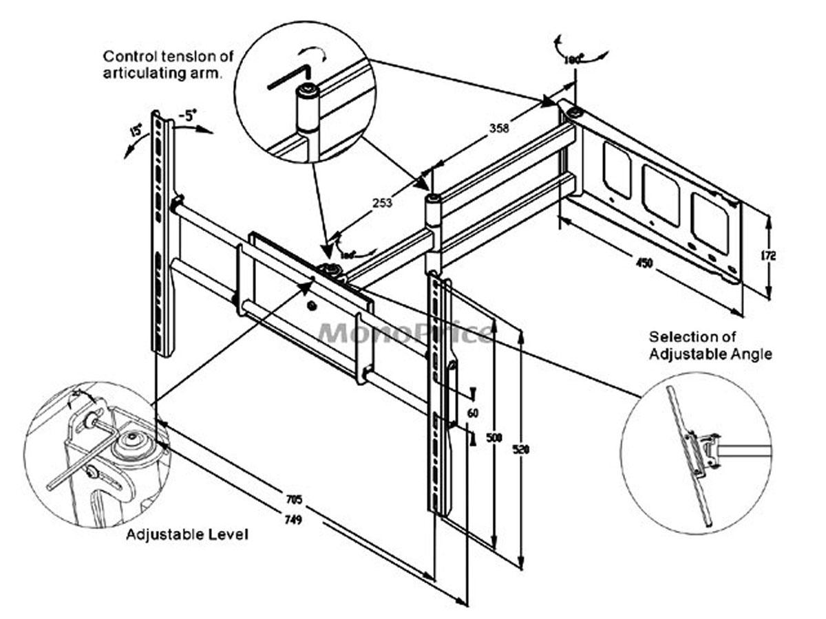 1200x900 Corner Friendly, Full Motion Wall Mount Bracket For 37~70in Tvs Up