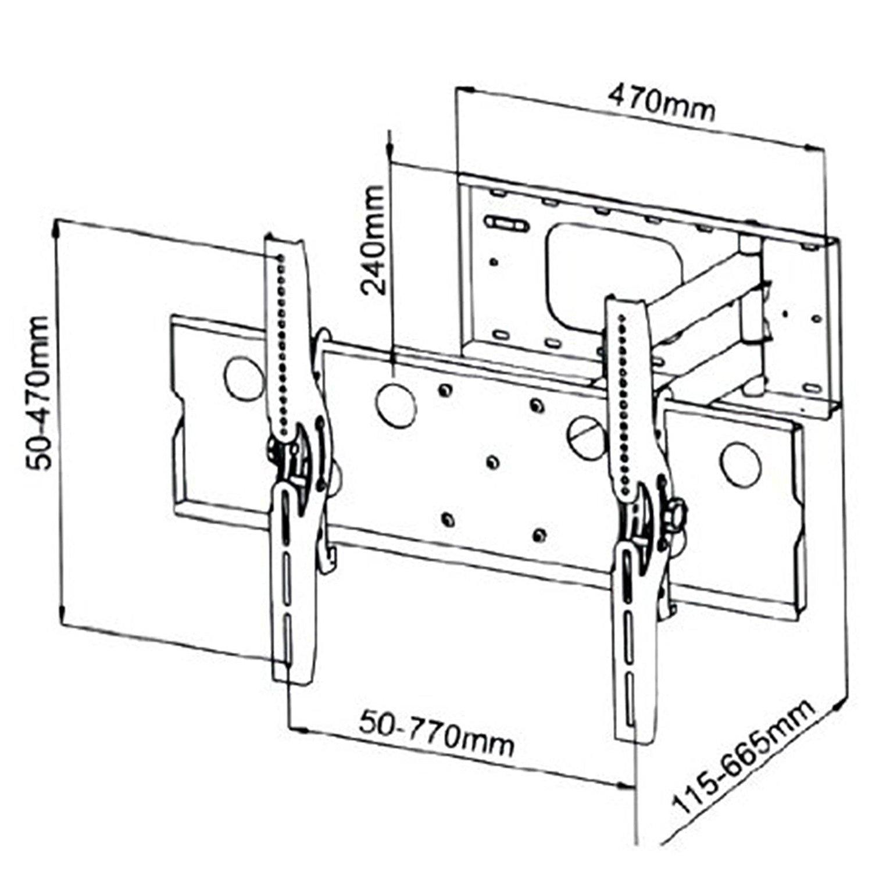1500x1500 2xhome New Tv Wall Mount Bracket (Single Arm) Secure