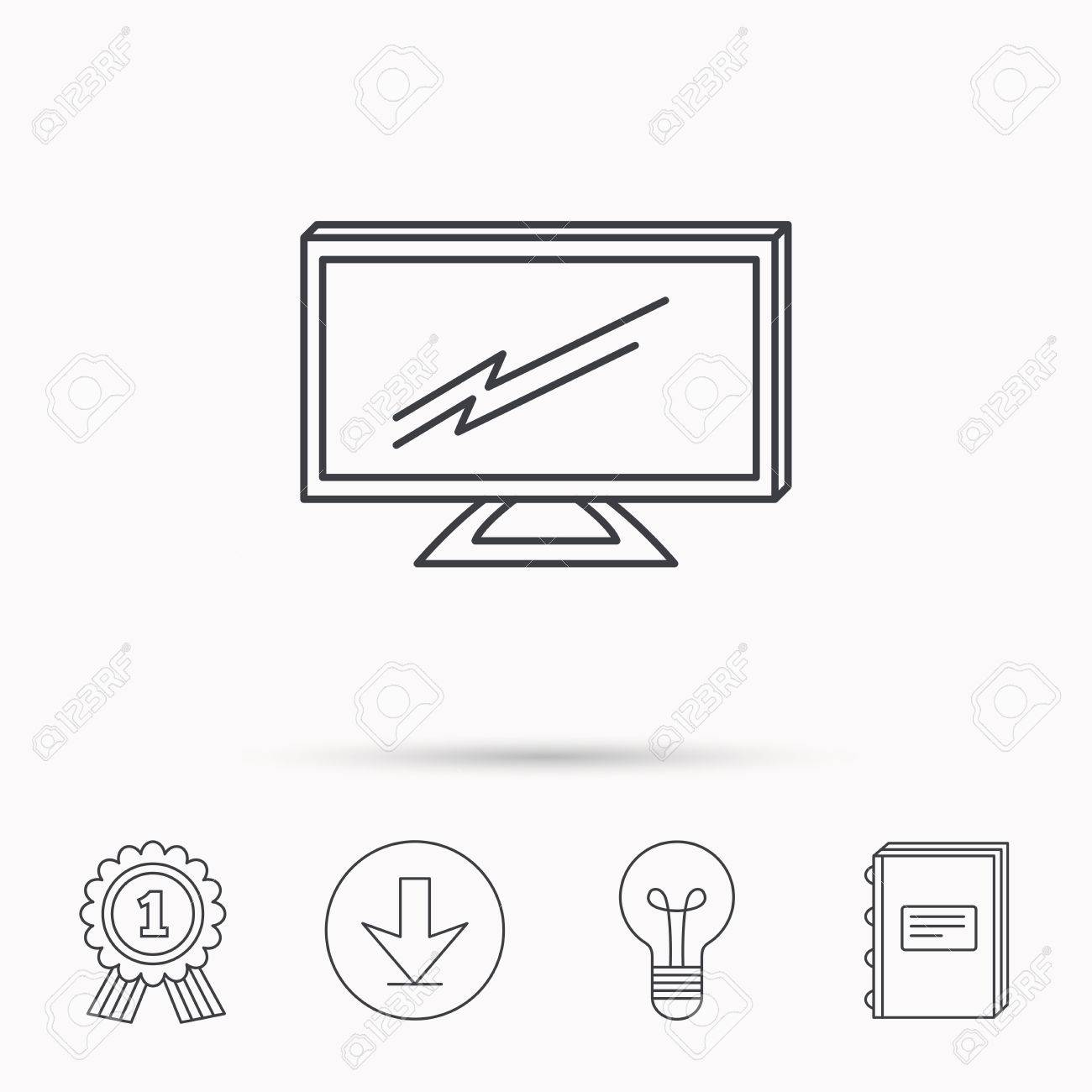 1300x1300 Lcd Tv Icon. Led Monitor Sign. Widescreen Display Symbol. Download