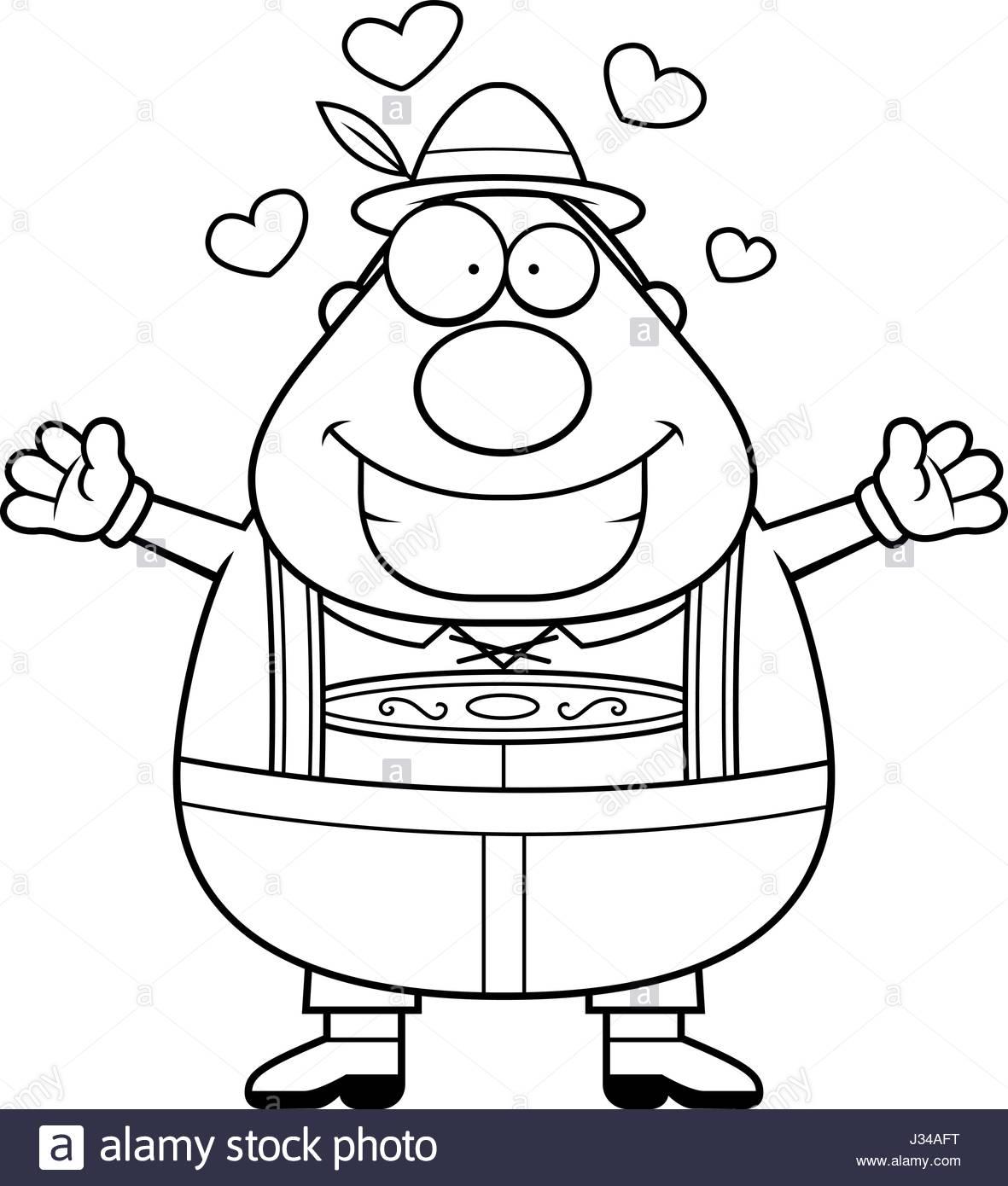 1181x1390 A Cartoon Illustration Of A German Man In Lederhosen Ready To Give