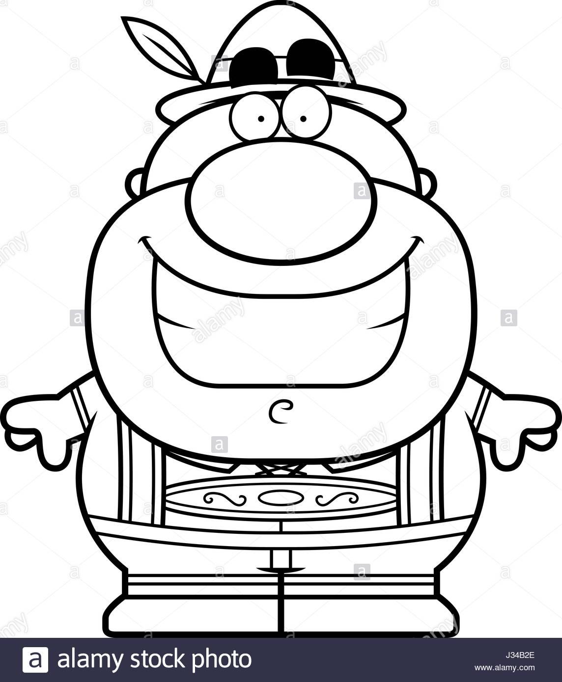 1144x1390 A Cartoon Illustration Of A German Man In Lederhosen Smiling Stock