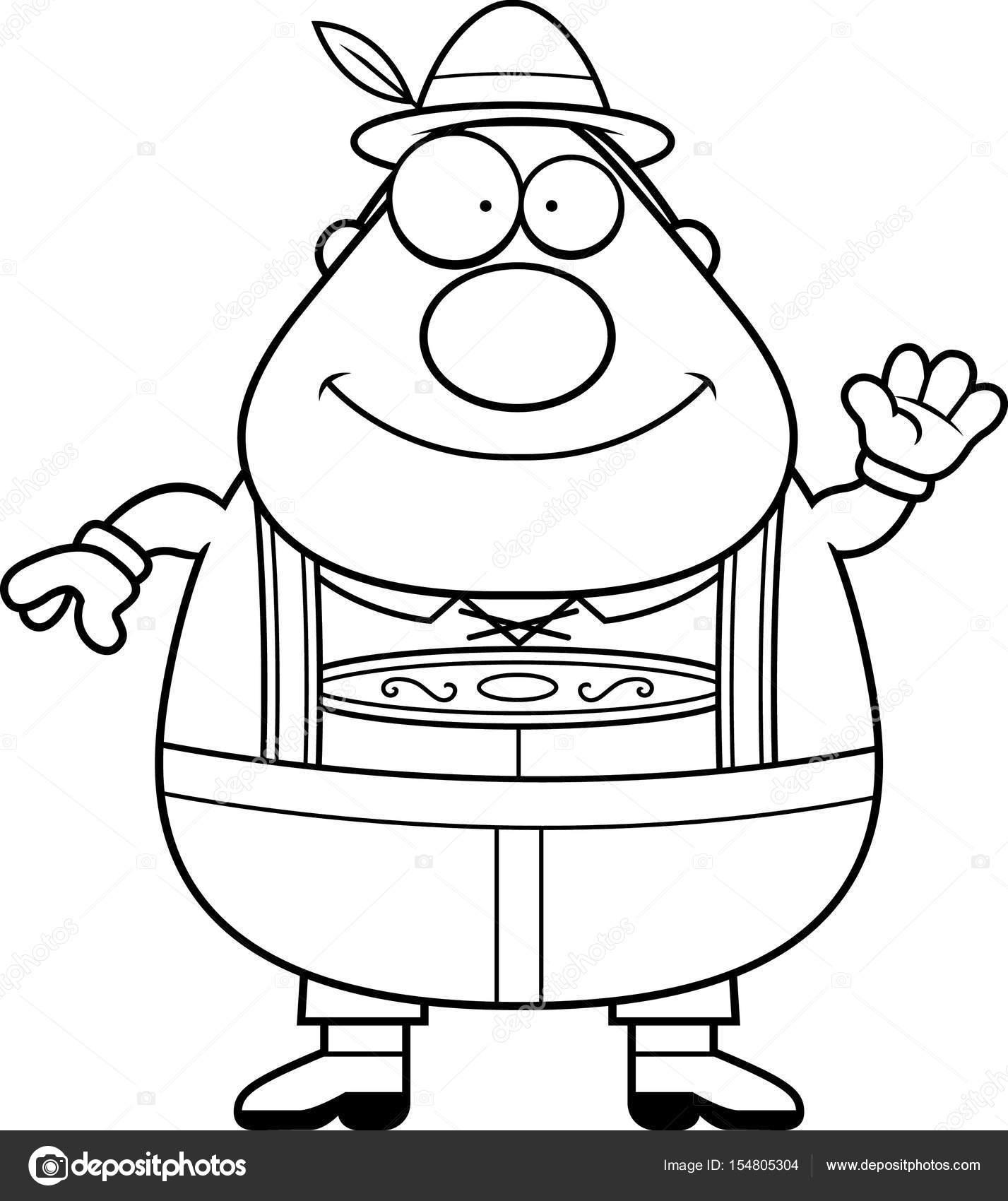1427x1700 Cartoon Lederhosen Man Waving Stock Vector Cthoman