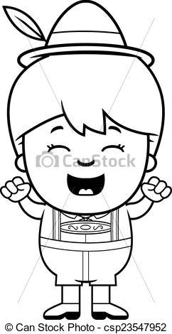 242x470 Celebrating Cartoon Lederhosen Boy. A Cartoon Illustration
