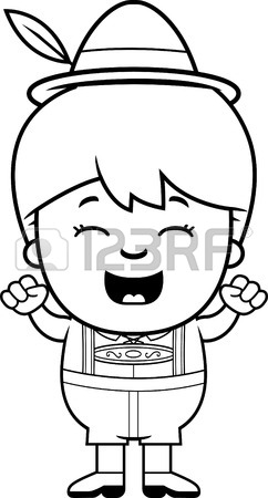 242x450 A Cartoon Illustration Of A German Boy In Lederhosen Smiling