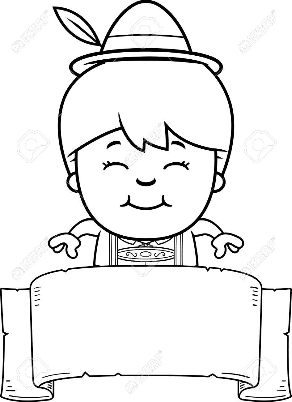 945x1300 A Cartoon Illustration Of A German Boy In Lederhosen With A Banner