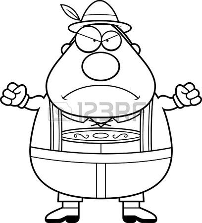 408x450 A Cartoon Illustration Of A German Man In Lederhosen Looking