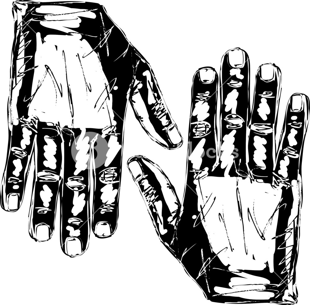1000x982 Sketch Of Right And Left Hand. Vector Illustration Royalty Free