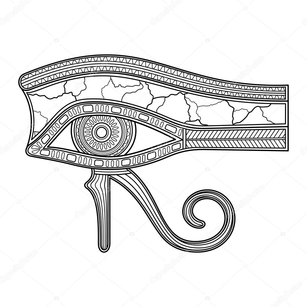 1024x1024 Vector Eye Of Horus (All Seeing Eye Wadjet, Udjat) In Linear Style