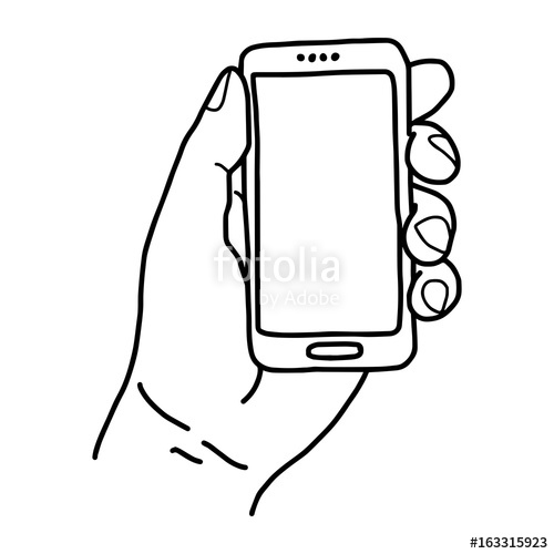 500x500 Left Hand Holding Small Mobile Phone