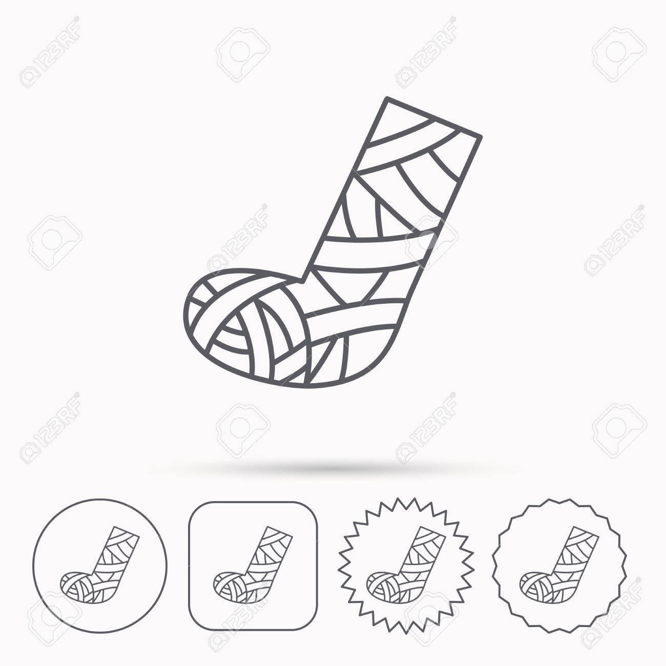 1300x1300 Gypsum Or Cast Foot Icon. Broken Leg Sign. Human Recovery Medicine
