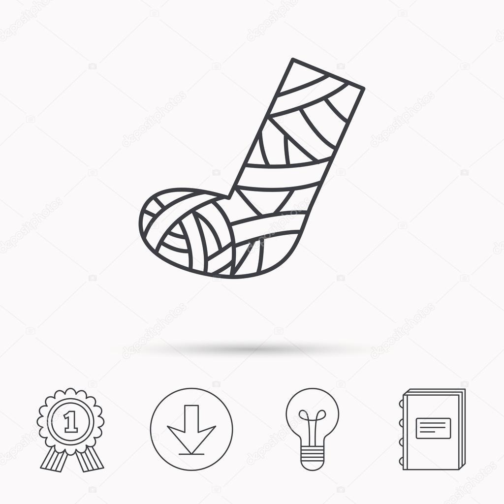 1024x1024 Gypsum Or Cast Foot Icon. Broken Leg Sign. Stock Vector