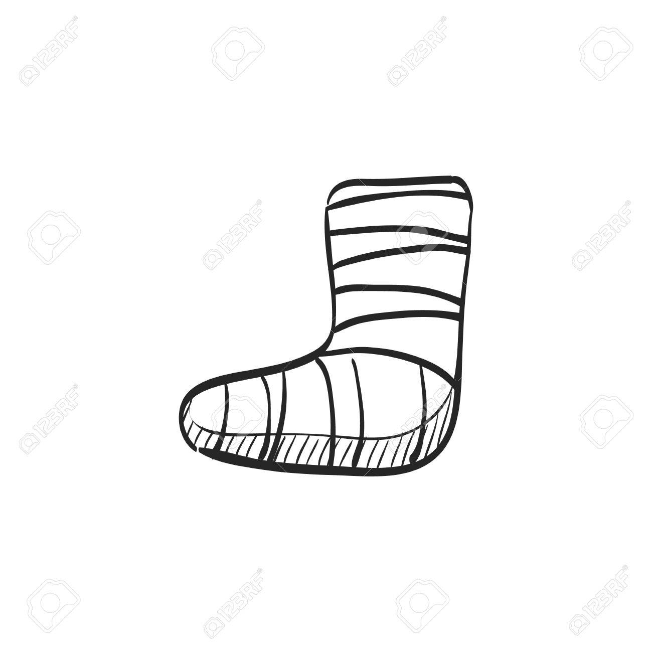 1300x1300 Injured Foot Icon In Doodle Sketch Lines. Gypsum Cast Medical