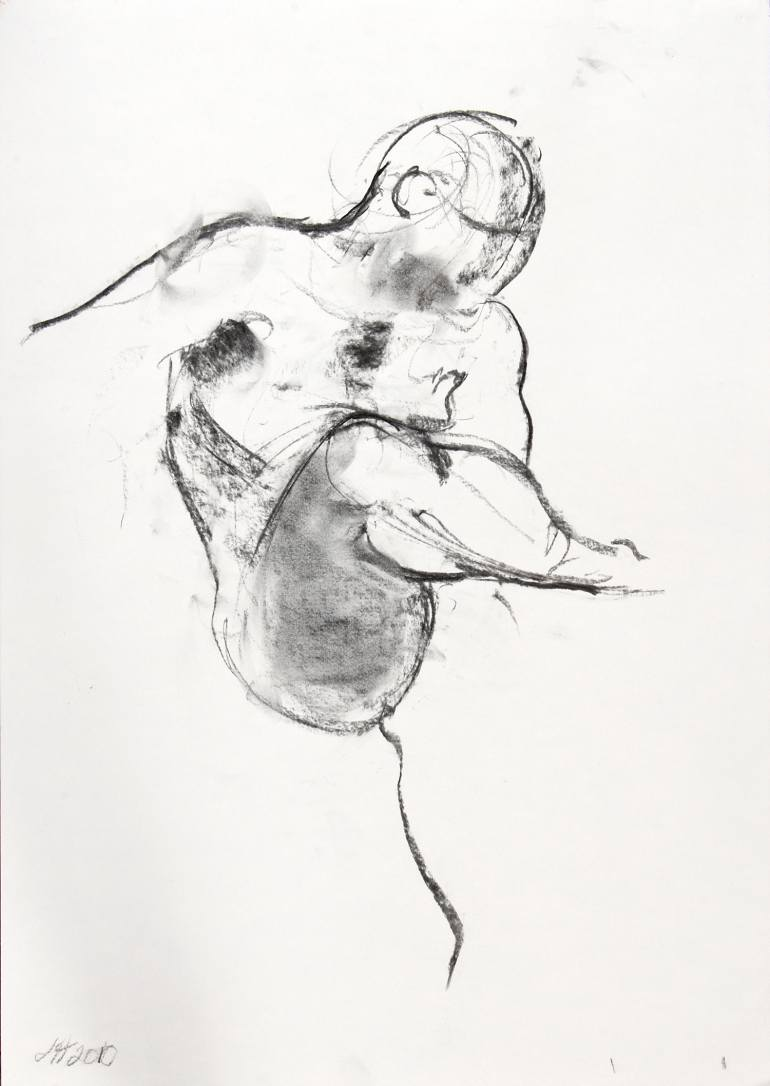 770x1086 Saatchi Art Man Standing On One Leg Drawing By Jane Hargrave