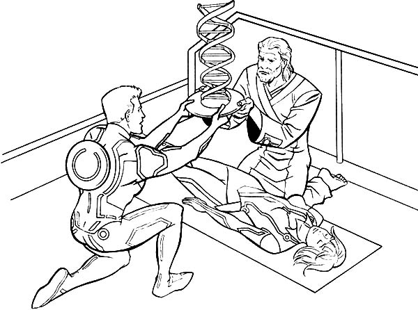 600x446 Tron Legacy Kevin And Sam Flynn Heals Quorra Coloring Pages