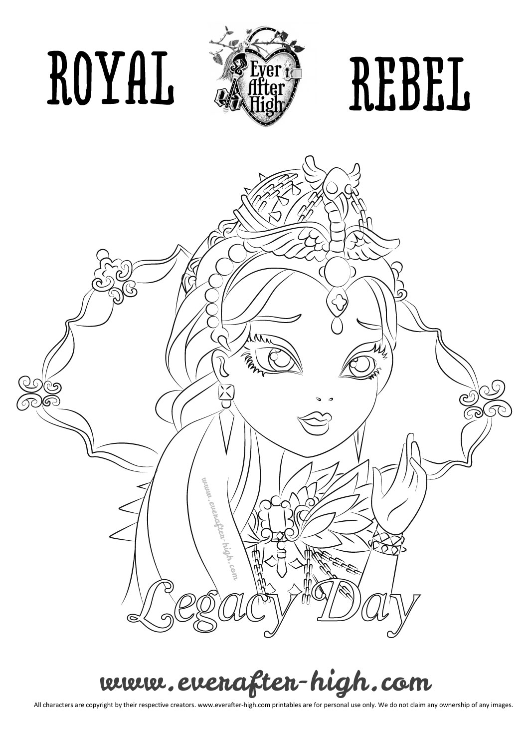 1063x1504 Legacy Day Raven Queen Coloring Page Ever After High