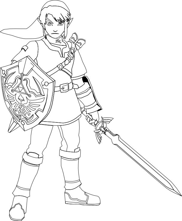 609x740 Link Coloring Pages Lineart Zelda Link Best Picture Link Coloring