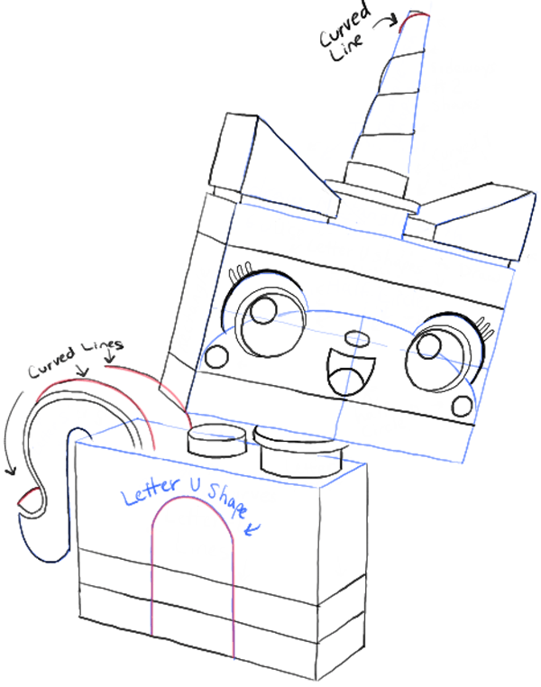 600x762 How To Draw Unikitty. A Lego Brick Build Character That Is In