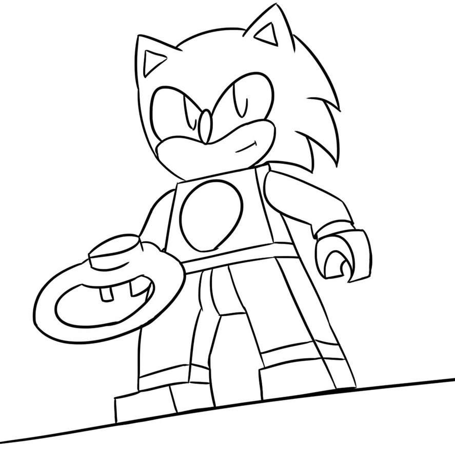 887x901 Sonic The Lego Dimension Lineart By Xero J