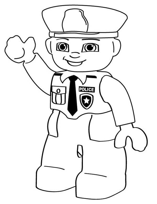 600x776 Cartoon Coloring Pages Lego Police Person Lego Police And Lego