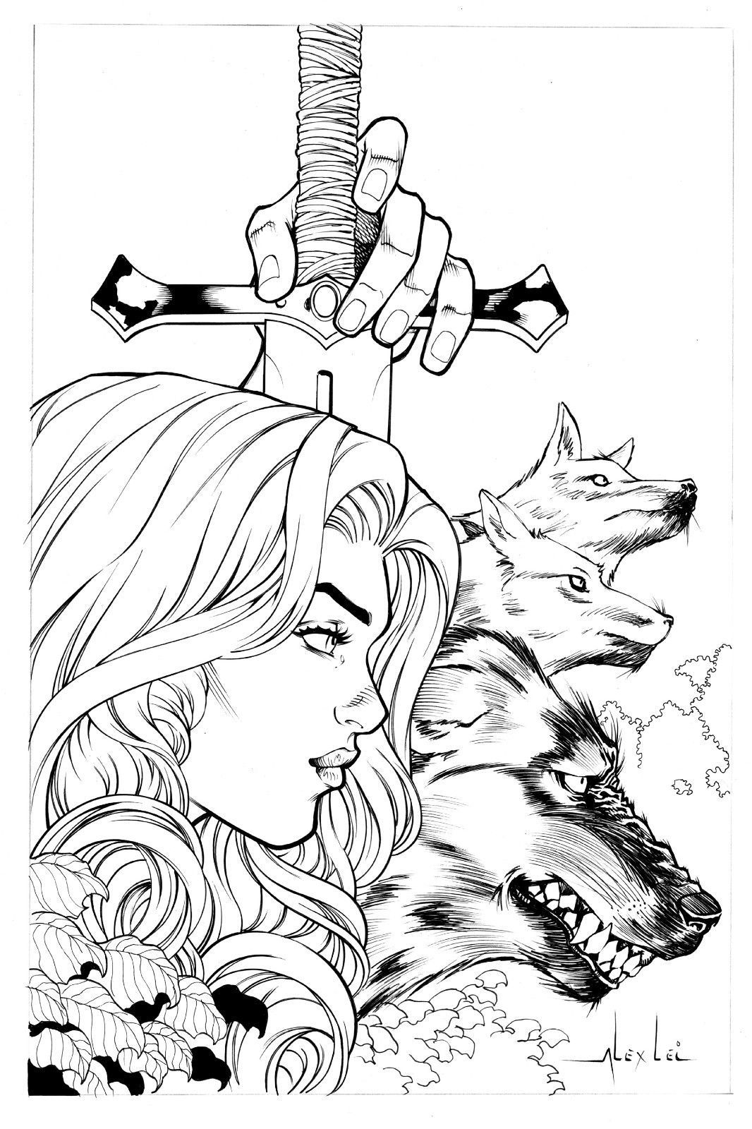 1066x1600 Red Sonja And Wolfs By Alex Lei Art Pinup Drawing Original Ebay