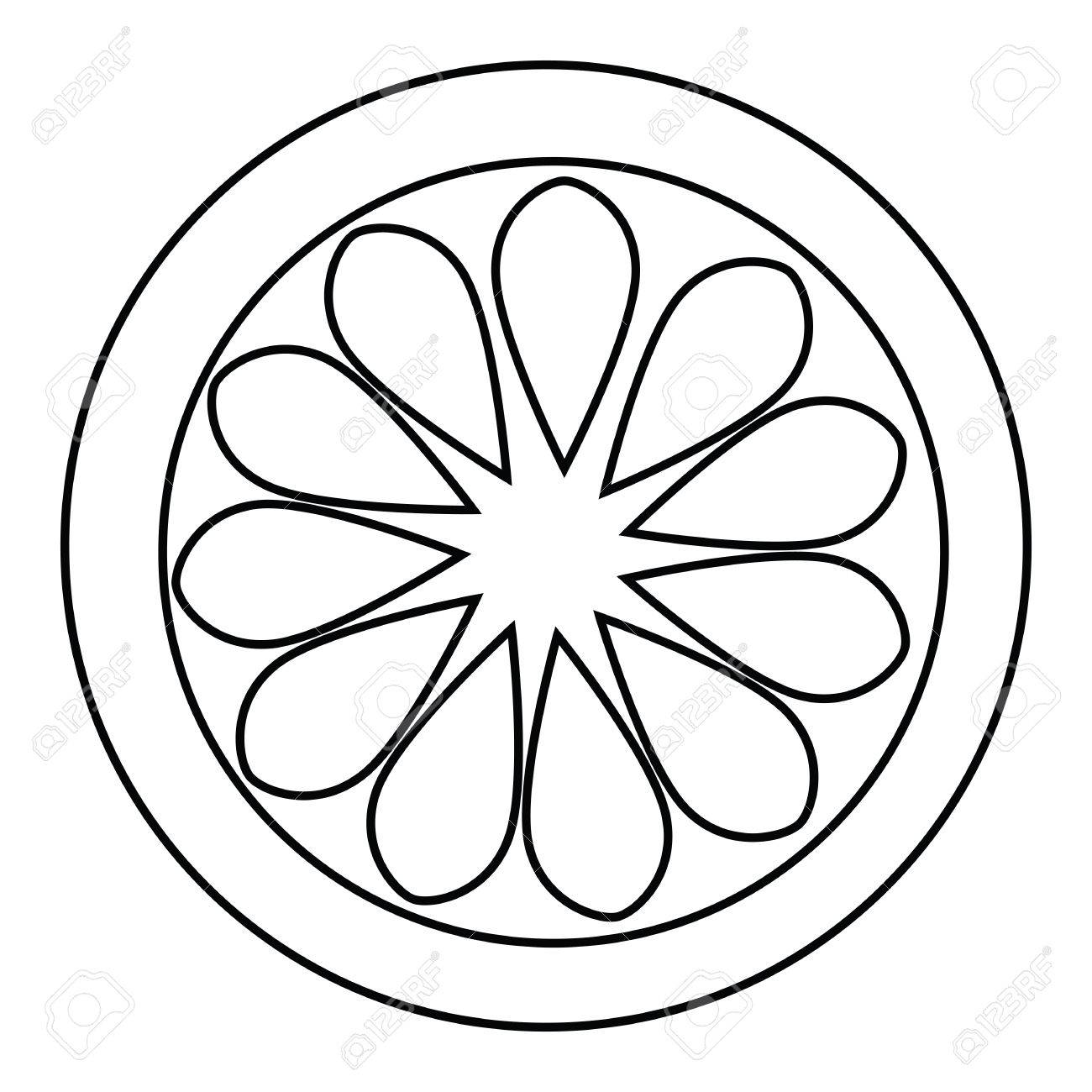 1300x1300 Lemon Slice Outline For Coloring Book Vector For Download Isolated