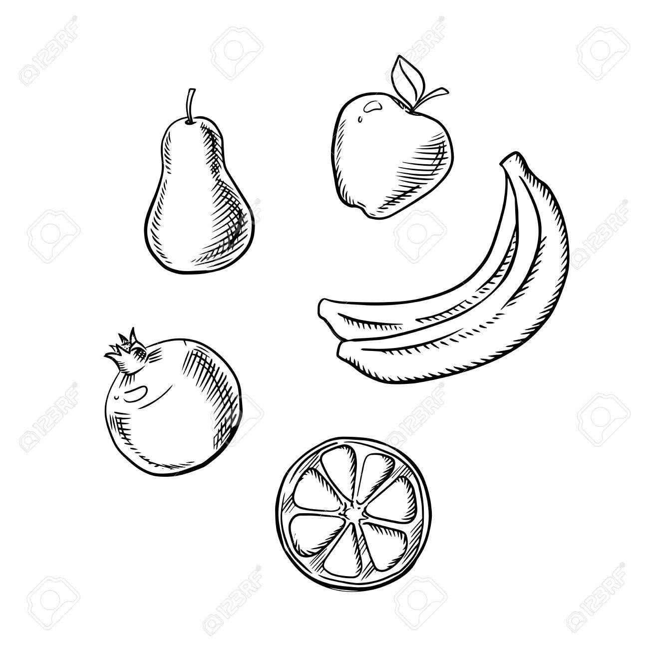 1300x1300 Fresh And Juicy Apple, Pear, Slice Of Lemon, Bunch Of Banana