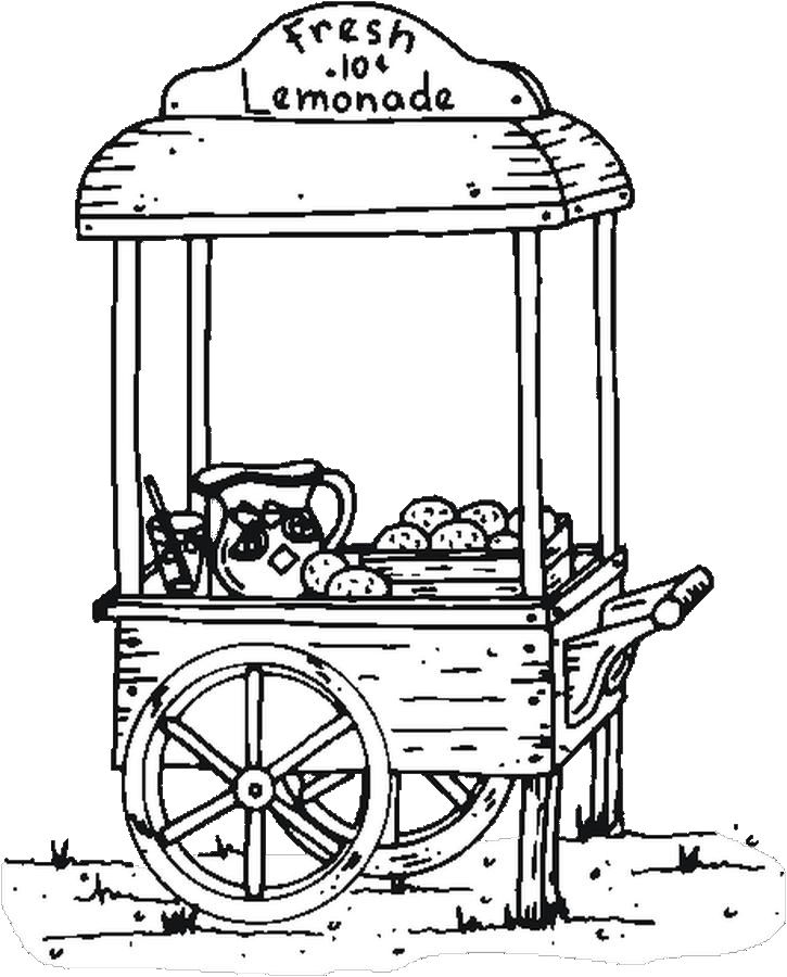 725x900 Lemonade Stand Coloring Page