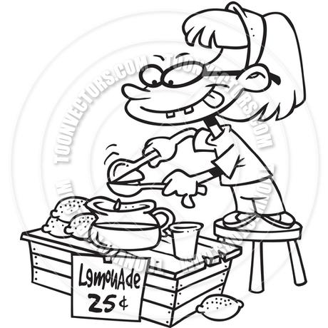 460x460 Cartoon Lemonade Stand (Black And White Line Art) By Ron Leishman