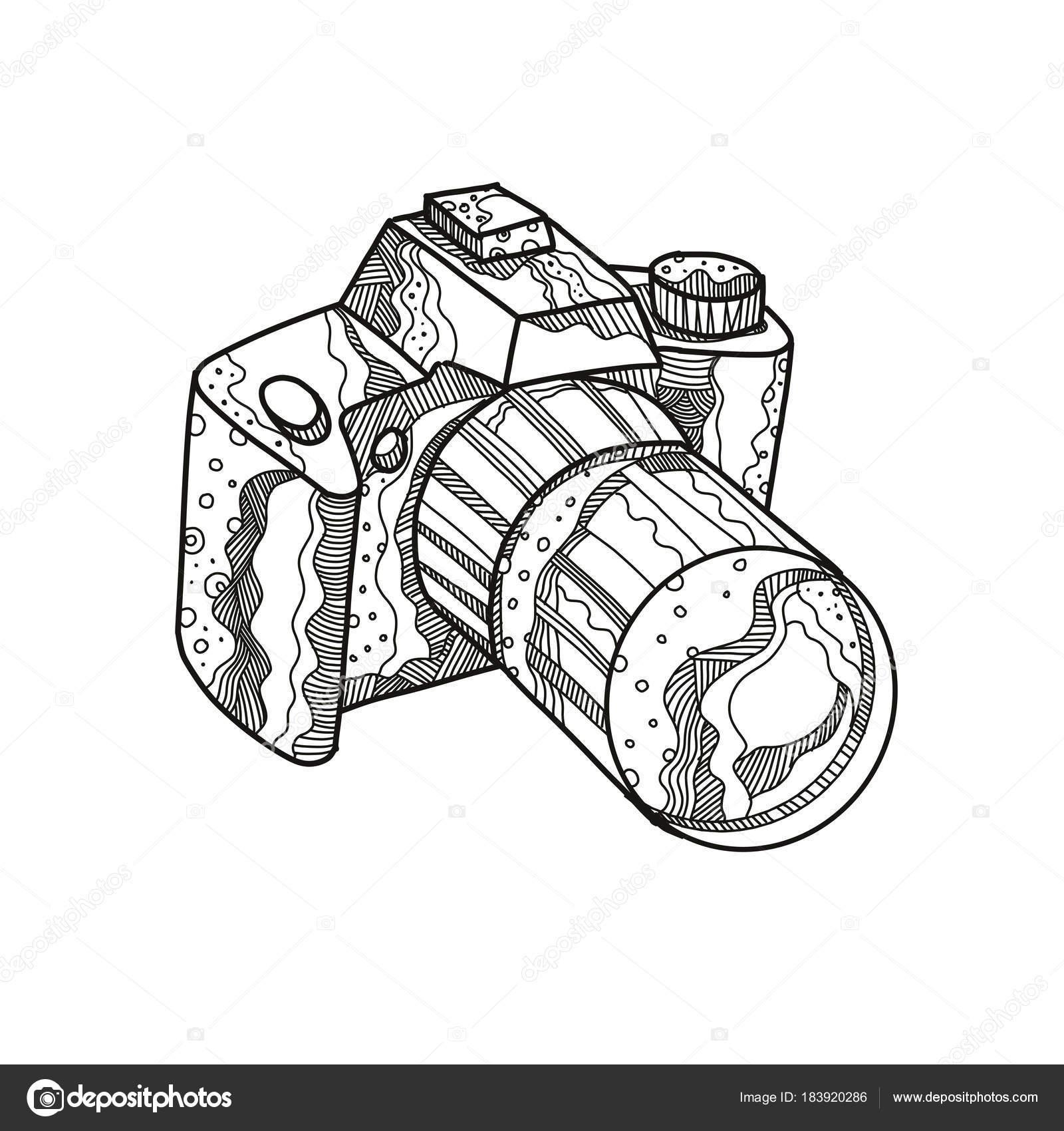 1600x1700 Dslr Camera Doodle Art Stock Vector Patrimonio
