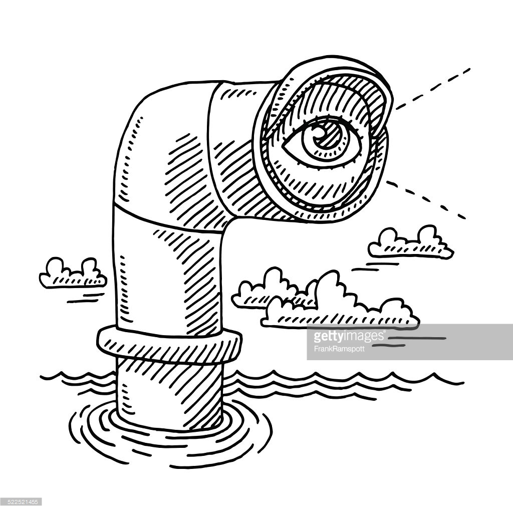 1024x1024 Hand Drawn Vector Drawing Of A Periscope And An Eye On The Lens