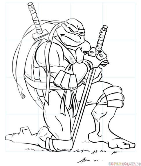 486x575 How To Draw Leonardo From Ninja Turtles Step By Step Drawing