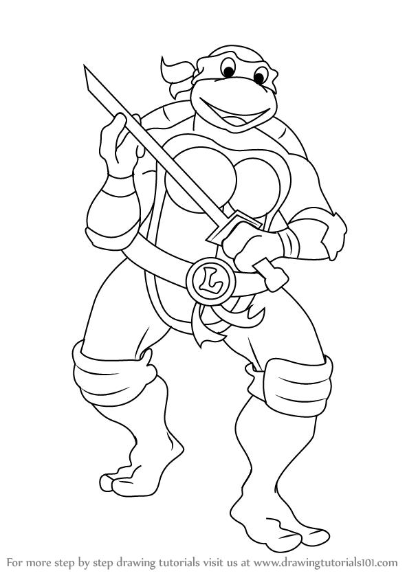 592x844 Learn How To Draw Leonardo From Teenage Mutant Ninja Turtles