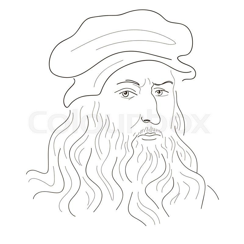 800x800 Leonardo Da Vinci. Sketch Illustration. Black And White. Vector