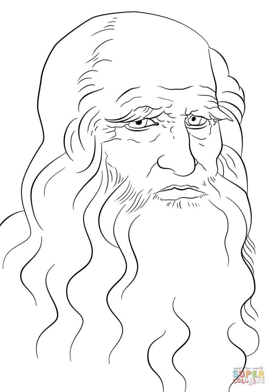 824x1186 Leonardo Da Vinci Self Portrait Coloring Page Free Printable