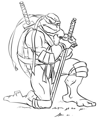 406x480 Leonardo From Ninja Turtles Coloring Page Free Printable