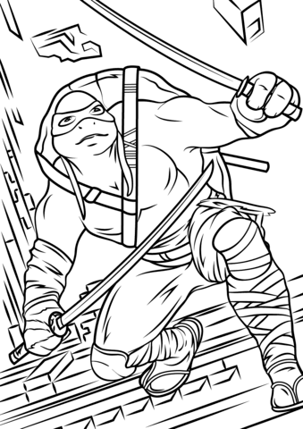 339x480 Leonardo From Teenage Mutant Ninja Turtles 2 Coloring Page Free