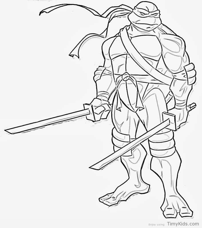 706x798 Leonardo Ninja Turtle Coloring Pages Timykids