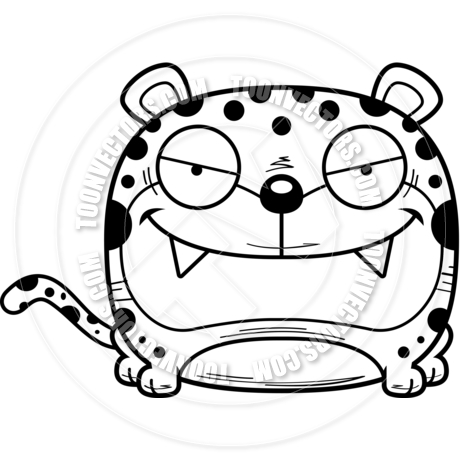460x460 Cartoon Leopard Sly (Black Amp White Line Art) By Cory Thoman Toon
