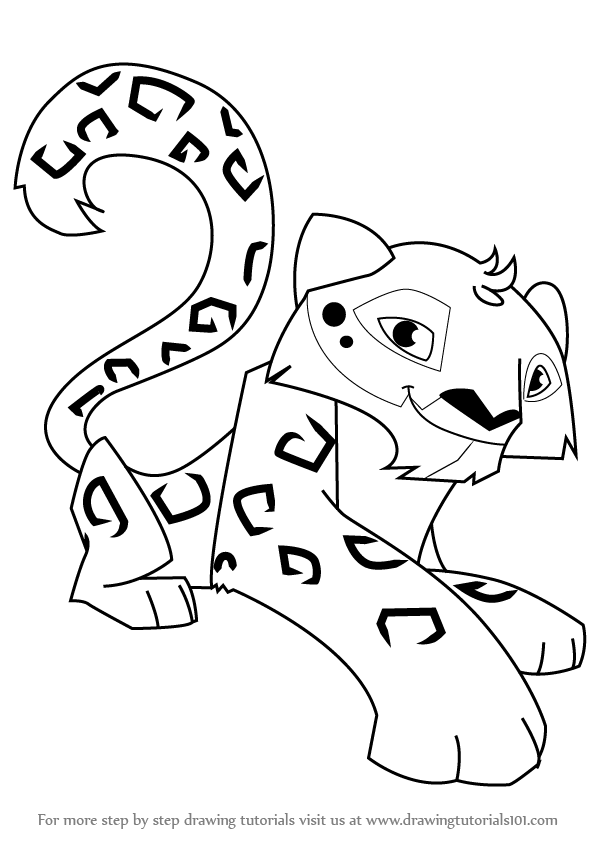 599x846 Learn How To Draw Snow Leopard From Animal Jam (Animal Jam) Step