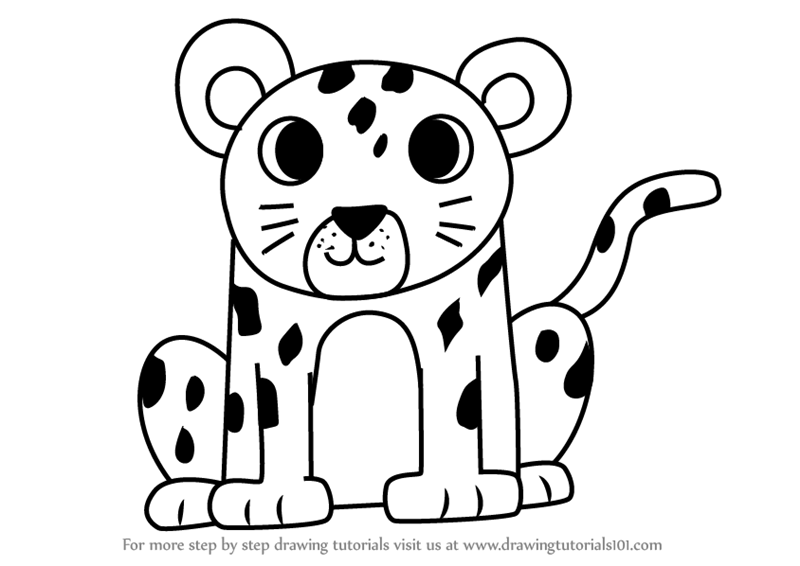 800x566 Learn How To Draw A Leopard For Kids (Animals For Kids) Step By