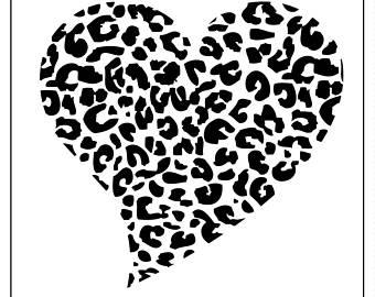 340x270 Heart04 Reusable Laser Cut Stencil Animal Print Hearts