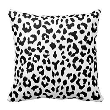 355x355 Black And White Leopard Print Animal Accent Decorative