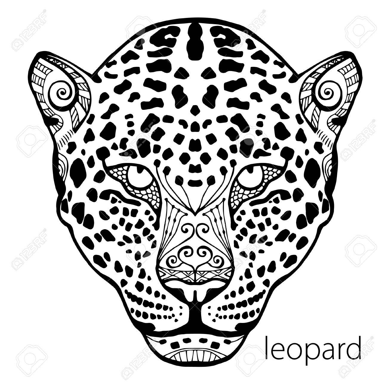 1300x1300 The Black And White Leopard Print With Ethnic Patterns. Coloring