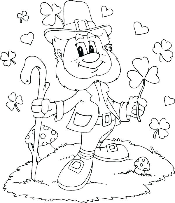 600x696 Here Are Leprechaun Coloring Pages Pictures Four Leaf Clover