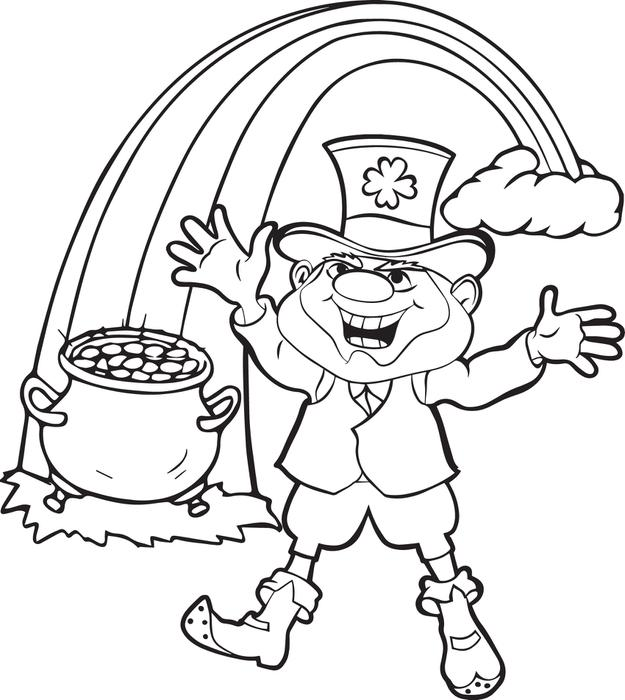 625x700 Free Printable Leprechaun Coloring Page For Kids
