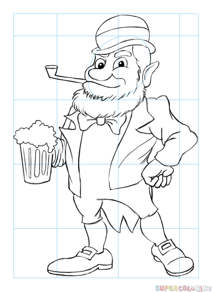 418x575 How To Draw The Leprechaun With Beer Step By Step Drawing Tutorials