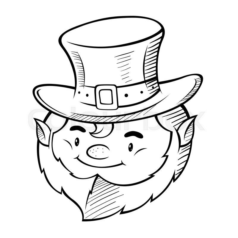 800x800 Vector Line Art Of Happy Smiling Leprechaun Head Stock Vector